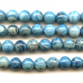 Blue Crazy Lace Agate 8mm Round Beads - 8 Inch Strand