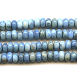 Blue Crazy Lace Agate 6mm Rondelle Beads - 8 Inch Strand