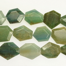 Blue Green Quartz 25x30mm Faceted Hexagon Beads - 8 Inch Strand