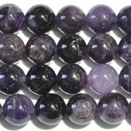 Amethyst 10mm Round Beads - 8 Inch Strand