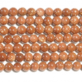 Goldstone 4mm Round Beads - 8 Inch Strand