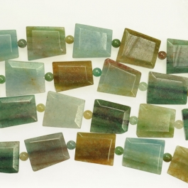 Blue Green Quartz Faceted Trapezoid Beads - 8 Inch Strand
