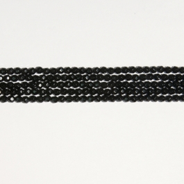 Onyx 4mm Round Faceted Beads - 8 Inch Strand