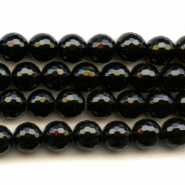 Onyx 8mm Round Faceted Beads - 8 Inch Strand