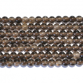 Smoky Quartz 8mm Round Large Hole Beads - 8 Inch Strand