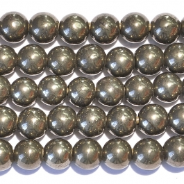 Pyrite 8mm Round Large Hole Beads - 8 Inch Strand