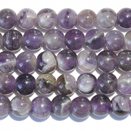 Dog Teeth Amethyst 8mm Round Large Hole Beads - 8 Inch Strand
