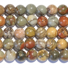 Red Creek Jasper 8mm Round Large Hole Beads - 8 Inch Strand