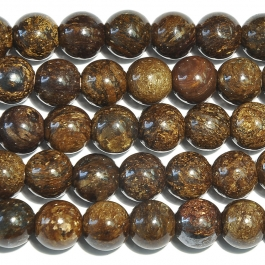 Bronzite 8mm Round Large Hole Beads - 8 Inch Strand