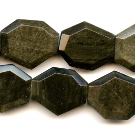 Golden Obsidian Faceted Hexagon Gemstone Beads - 8 Inch Strand