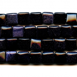 Blue Goldstone 12mm Square Beads - 8 Inch Strand
