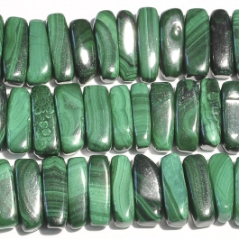 Malachite 5x15mm Flat Chip Beads - 8 Inch Strand
