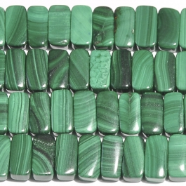 Malachite 5x10mm Double Drilled Beads - 8 Inch Strand