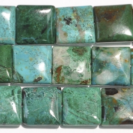 Chrysocolla 12mm Square Beads - 8 Inch Strand