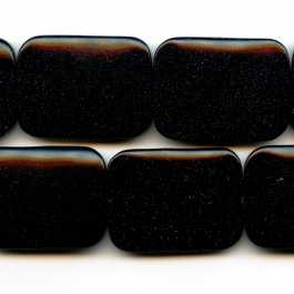 Blue Goldstone 30x40mm Rectangle Beads - 8 Inch Strand