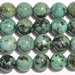African Turquoise 8mm Round Beads - 8 Inch Strand