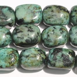 African Turquoise 12x16mm Tumble Nugget Beads - 8 Inch Strand