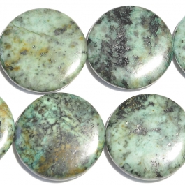 African Turquoise 30mm Coin Beads - 8 Inch Strand