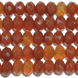 Carnelian 8mm Faceted Rondelle Beads - 8 Inch Strand