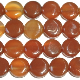 Carnelian 12mm Coin Beads - 8 Inch Strand