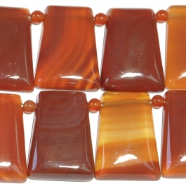 Carnelian 22x30mm Trapezoid and 4mm Round Beads - 8 Inch Strand