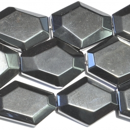 Hematite 25x30mm Faceted Hexagon Beads - 8 Inch Strand