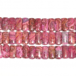 Pink Crazy Lace 10x20mm Double Drilled Beads - 8 Inch Strand