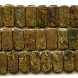Bronzite 10x20mm Rectangle Double Drilled  Beads - 8 Inch Strand