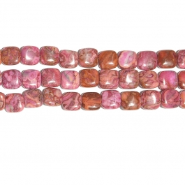 Pink Crazy Lace Agate 12mm Square Beads - 8 Inch Strand