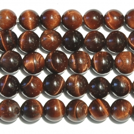 Red Tiger Eye 6mm Round Beads - 8 Inch Strand