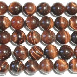 Red Tiger Eye 10mm Round Beads - 8 Inch Strand