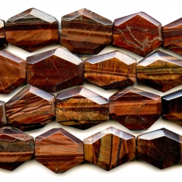 Red Tiger Eye 25x30mm Faceted Hexagon Beads - 8 Inch Strand