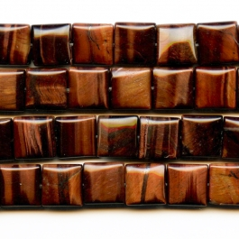 Red Tiger Eye 12mm Square Beads - 8 Inch Strand