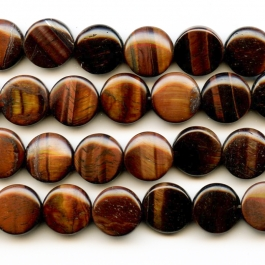 Red Tiger Eye 12mm Coin Beads - 8 Inch Strand