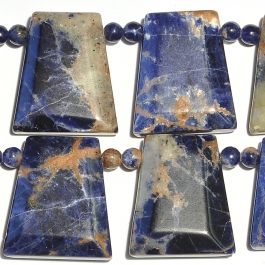 Orange Sodalite 18x25 Side Drill Trapezoid +4mm Rounds 8 Inch Strand