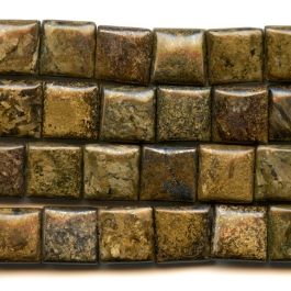 Bronzite 12mm Puff Square Beads - 8 Inch Strand