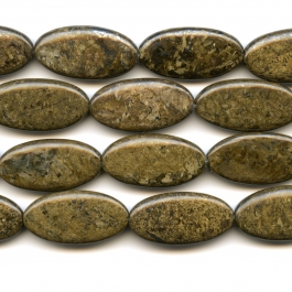 Bronzite 15x30mm Oval Beads - 8 Inch Strand