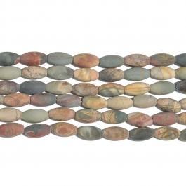 Red Creek Jasper Matte 8x16 Rice Bead 8 Inch Strand