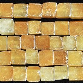 Yellow Jade 6mm Cube 8 Inch Strand