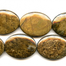 Bronzite 30x40mm Oval Beads - 8 Inch Strand