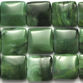 West African Jade 14mm Square 8 Inch Strand