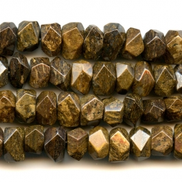Bronzite 7x12mm Faceted Nugget Beads - 8 Inch Strand