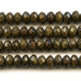 Bronzite 8mm Faceted Rondelle Beads - 8 Inch Strand