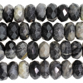 Black Silver Leaf Jasper 8mm Faceted Rondelle 8 inch Strand
