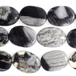Black Silver Leaf Jasper 10x14mm Oval 8 inch Strand