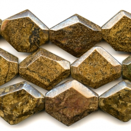 Bronzite 25x30mm Faceted Hexagon Beads - 8 Inch Strand