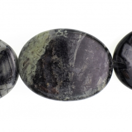 Black Silver Leaf Jasper 30x40mm Oval 8 inch Strand