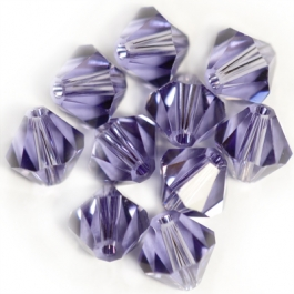 4mm Lilac 5301 Bi-Cone Swarovski Crystal Beads - Pack of 10