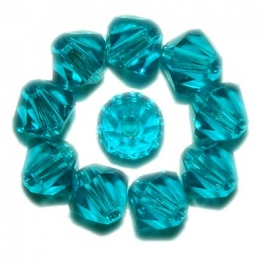 4mm Blue Zircon Bi-Cone Swarovski Crystal Beads - Pack of 12