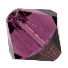 6mm Amethyst Bi-Cone Swarovski Crystal Beads - Pack of 10